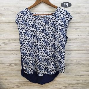 Pixley Blue & White Patterned Sleeveless Top